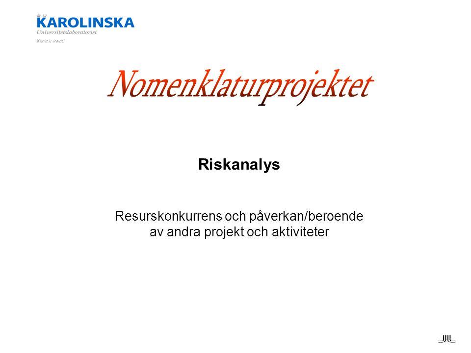 Riskanalys Resurskonkurrens och påverkan/beroende av andra projekt och aktiviteter Klinisk kemi