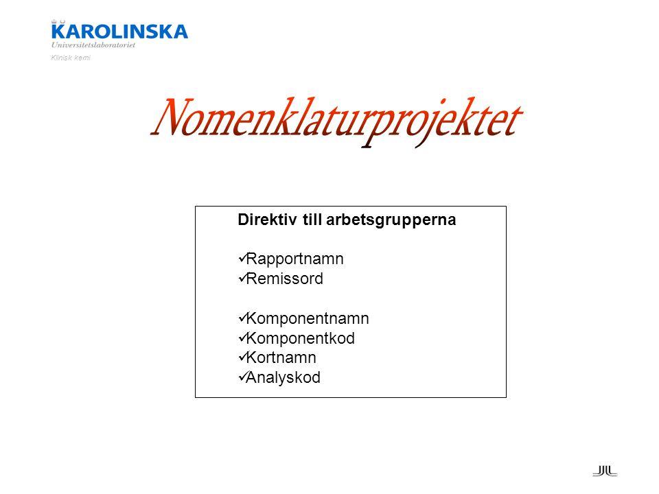 Direktiv till arbetsgrupperna Rapportnamn Remissord Komponentnamn Komponentkod Kortnamn Analyskod