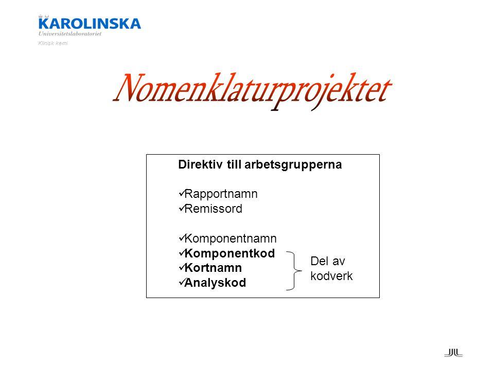 Klinisk kemi Direktiv till arbetsgrupperna Rapportnamn Remissord Komponentnamn Komponentkod Kortnamn Analyskod Del av kodverk