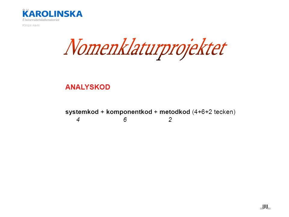 Klinisk kemi ANALYSKOD systemkod + komponentkod + metodkod (4+6+2 tecken) 4 6 2