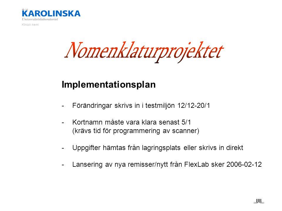 Klinisk kemi Implementationsplan -Förändringar skrivs in i testmiljön 12/12-20/1 -Kortnamn måste vara klara senast 5/1 (krävs tid för programmering av