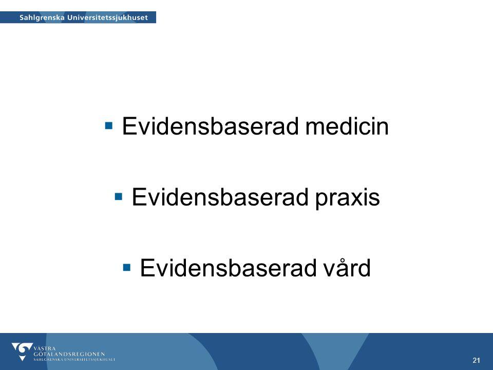 21  Evidensbaserad medicin  Evidensbaserad praxis  Evidensbaserad vård