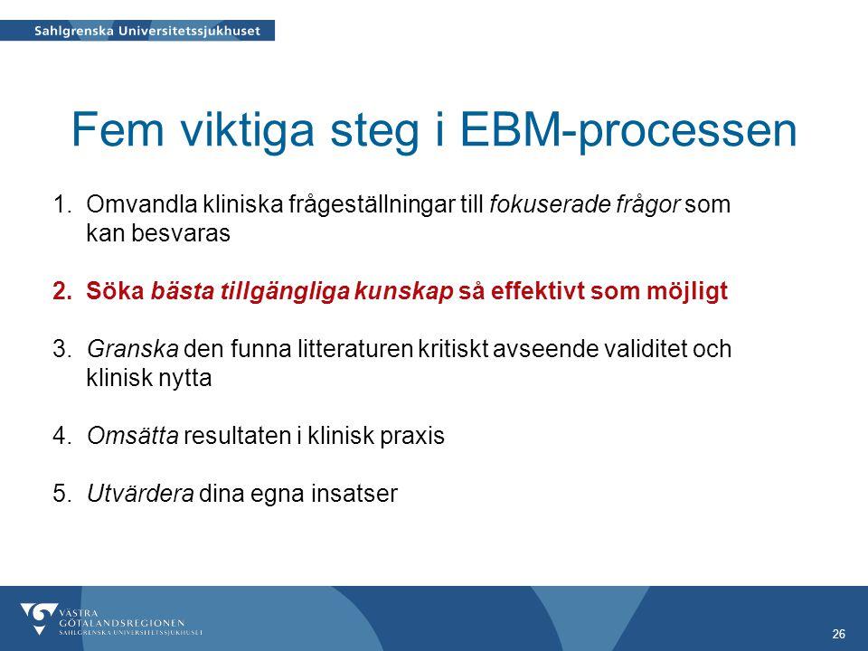 26 Fem viktiga steg i EBM-processen 1.
