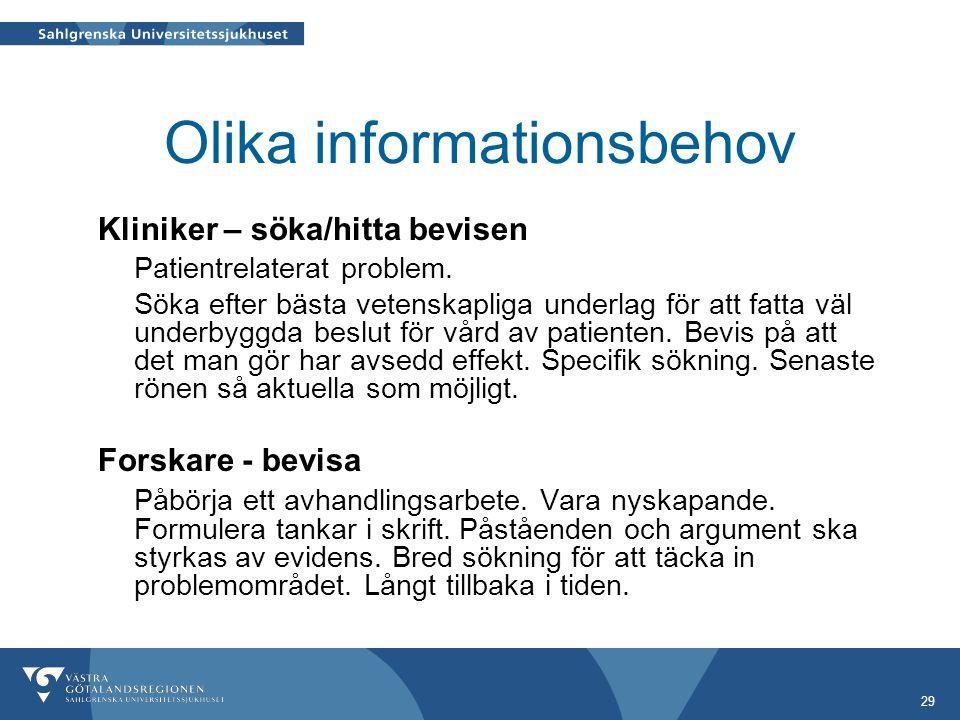 29 Olika informationsbehov Kliniker – söka/hitta bevisen Patientrelaterat problem.