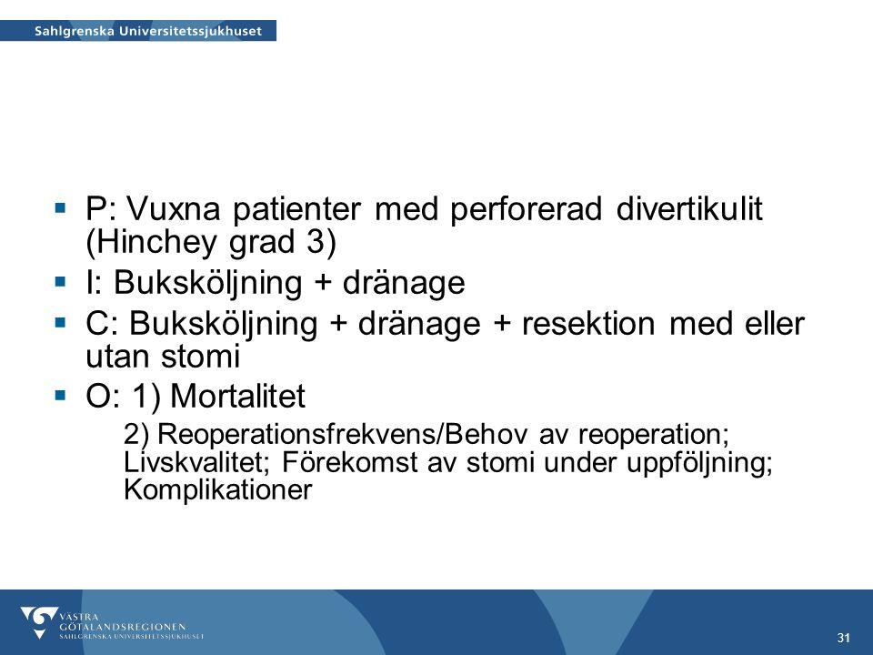 31  P: Vuxna patienter med perforerad divertikulit (Hinchey grad 3)  I: Buksköljning + dränage  C: Buksköljning + dränage + resektion med eller utan stomi  O: 1) Mortalitet 2) Reoperationsfrekvens/Behov av reoperation; Livskvalitet; Förekomst av stomi under uppföljning; Komplikationer