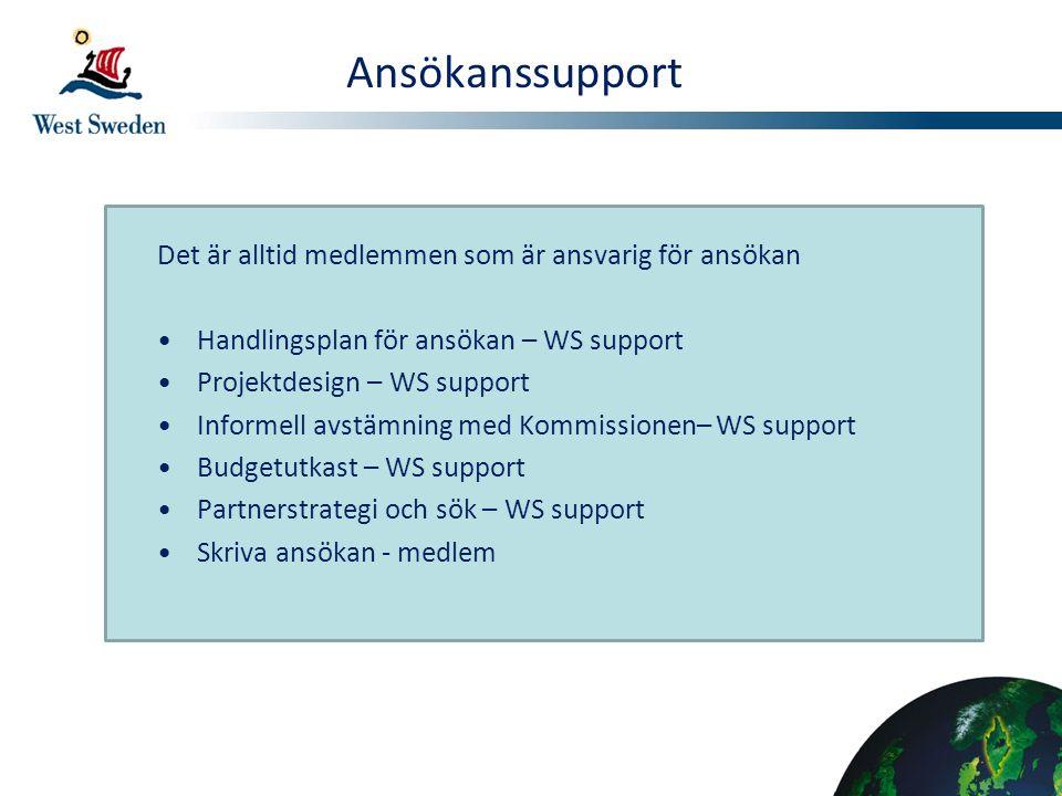 Ansökanssupport Det är alltid medlemmen som är ansvarig för ansökan Handlingsplan för ansökan – WS support Projektdesign – WS support Informell avstäm