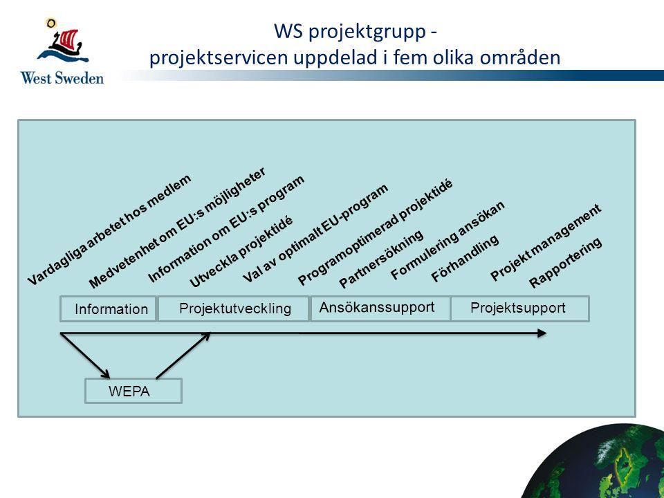 Vardagliga arbetet hos medlem Medvetenhet om EU:s möjligheter Information om EU:s program Utveckla projektidé Val av optimalt EU-program Programoptime