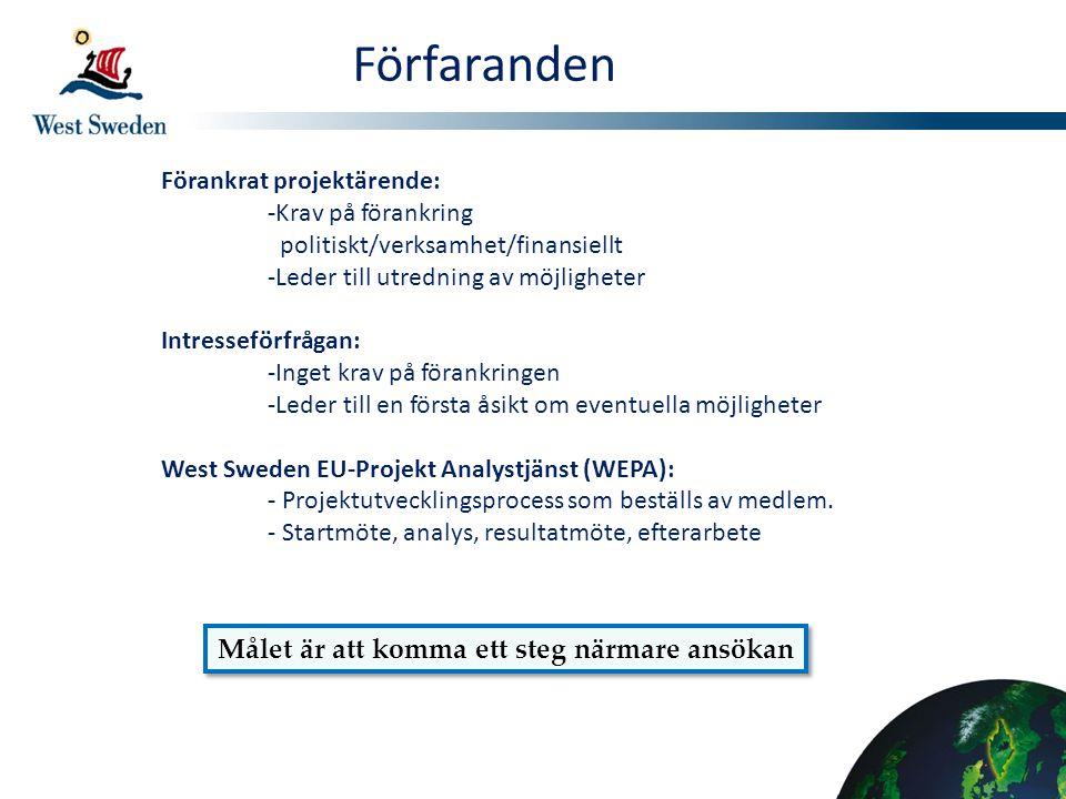 Förfaranden Förankrat projektärende: -Krav på förankring politiskt/verksamhet/finansiellt -Leder till utredning av möjligheter Intresseförfrågan: -Ing