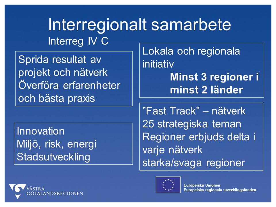 Europeiska Unionen Europeiska regionala utvecklingsfonden Interregionalt samarbete Interreg IV C Sprida resultat av projekt och nätverk Överföra erfar