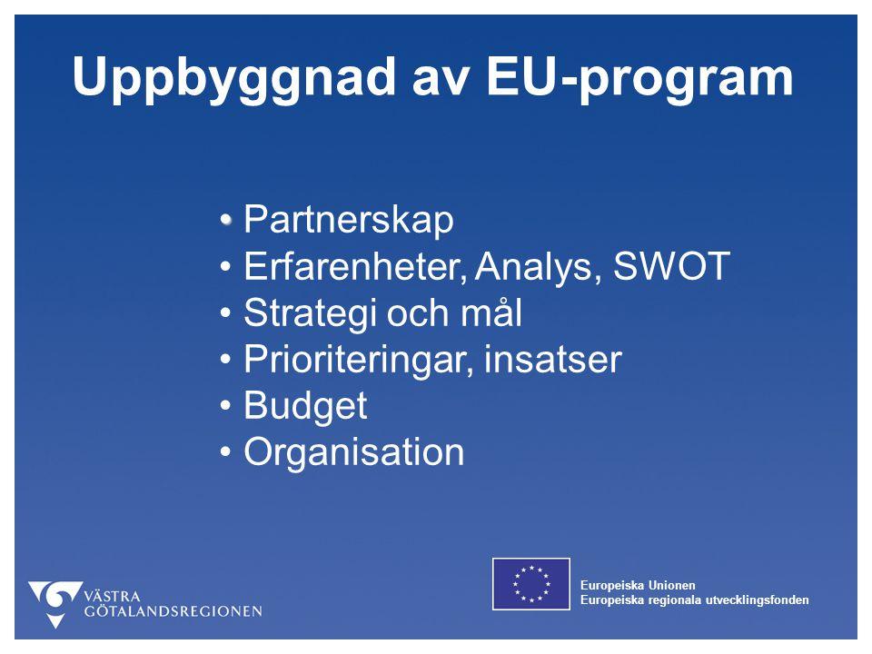 Europeiska Unionen Europeiska regionala utvecklingsfonden Partnerskap Erfarenheter, Analys, SWOT Strategi och mål Prioriteringar, insatser Budget Orga
