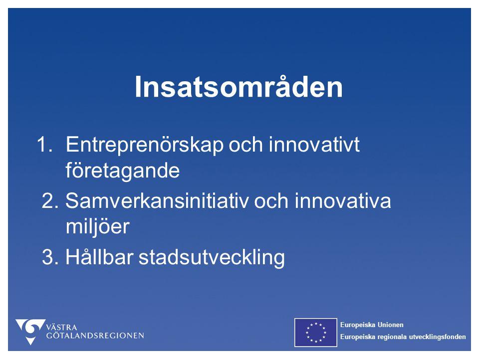Europeiska Unionen Europeiska regionala utvecklingsfonden Insatsområden 1. Entreprenörskap och innovativt företagande 2. Samverkansinitiativ och innov