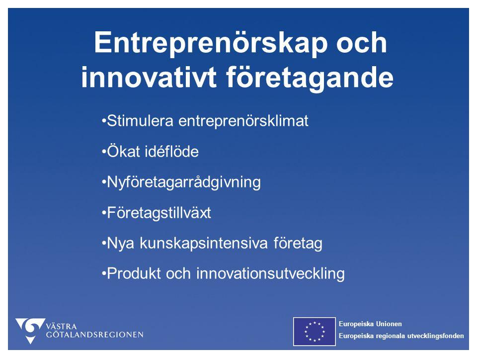 Europeiska Unionen Europeiska regionala utvecklingsfonden Entreprenörskap och innovativt företagande Stimulera entreprenörsklimat Ökat idéflöde Nyföre