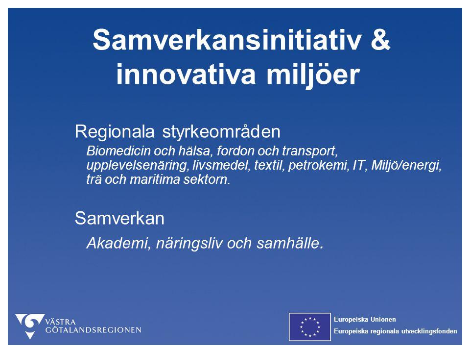 Europeiska Unionen Europeiska regionala utvecklingsfonden Samverkansinitiativ & innovativa miljöer Regionala styrkeområden Biomedicin och hälsa, fordo