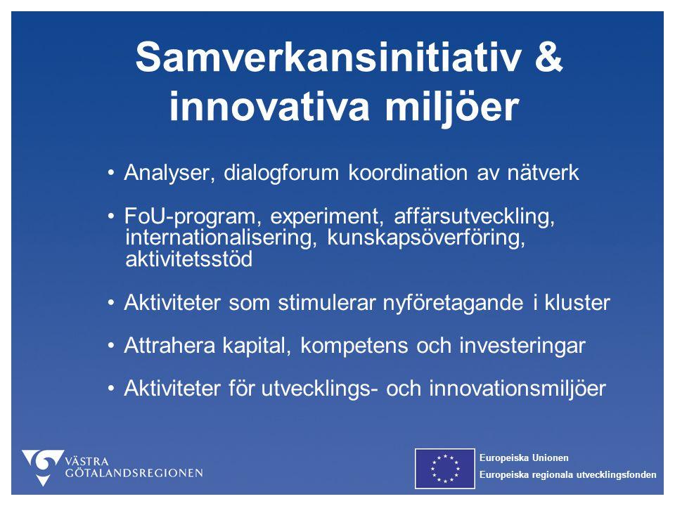Europeiska Unionen Europeiska regionala utvecklingsfonden Samverkansinitiativ & innovativa miljöer Analyser, dialogforum koordination av nätverk FoU-p