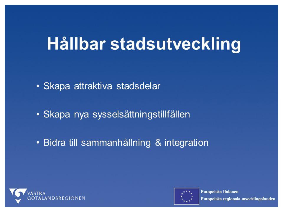 Europeiska Unionen Europeiska regionala utvecklingsfonden Hållbar stadsutveckling Skapa attraktiva stadsdelar Skapa nya sysselsättningstillfällen Bidr