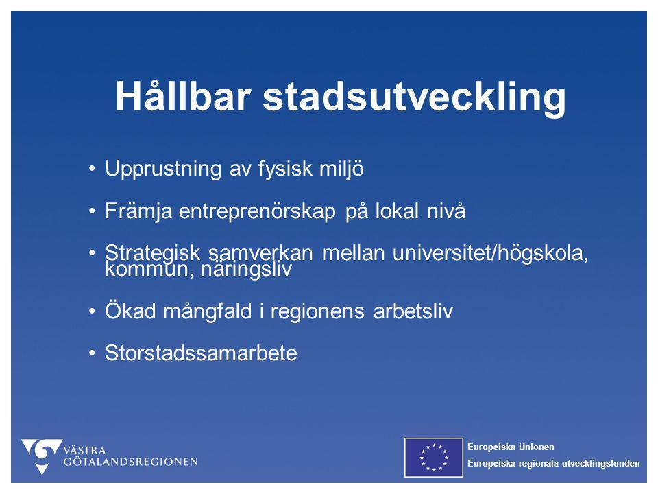 Europeiska Unionen Europeiska regionala utvecklingsfonden Hållbar stadsutveckling Upprustning av fysisk miljö Främja entreprenörskap på lokal nivå Str