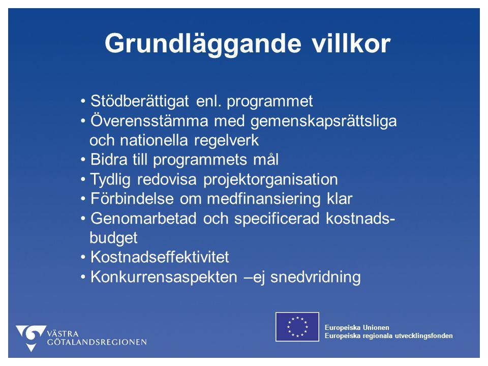 Europeiska Unionen Europeiska regionala utvecklingsfonden Grundläggande villkor Stödberättigat enl. programmet Överensstämma med gemenskapsrättsliga o