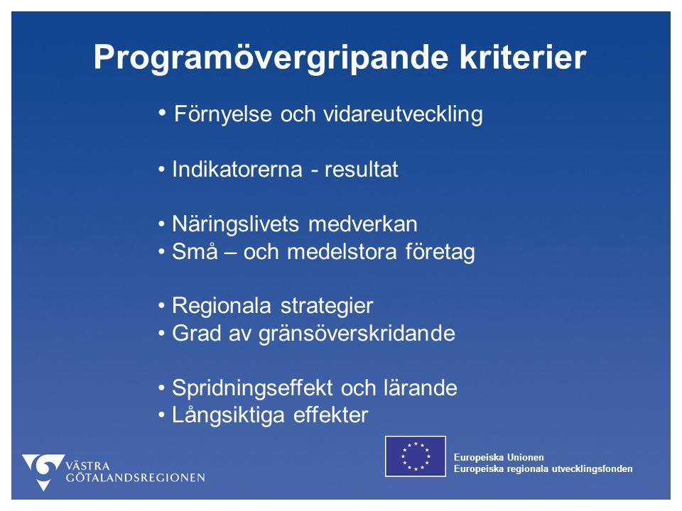 Europeiska Unionen Europeiska regionala utvecklingsfonden Programövergripande kriterier Förnyelse och vidareutveckling Indikatorerna - resultat Näring