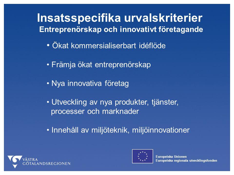Europeiska Unionen Europeiska regionala utvecklingsfonden Insatsspecifika urvalskriterier Entreprenörskap och innovativt företagande Ökat kommersialis