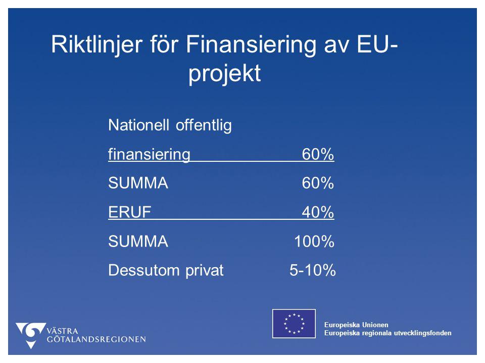 Europeiska Unionen Europeiska regionala utvecklingsfonden Riktlinjer för Finansiering av EU- projekt Nationell offentlig finansiering60% SUMMA60% ERUF