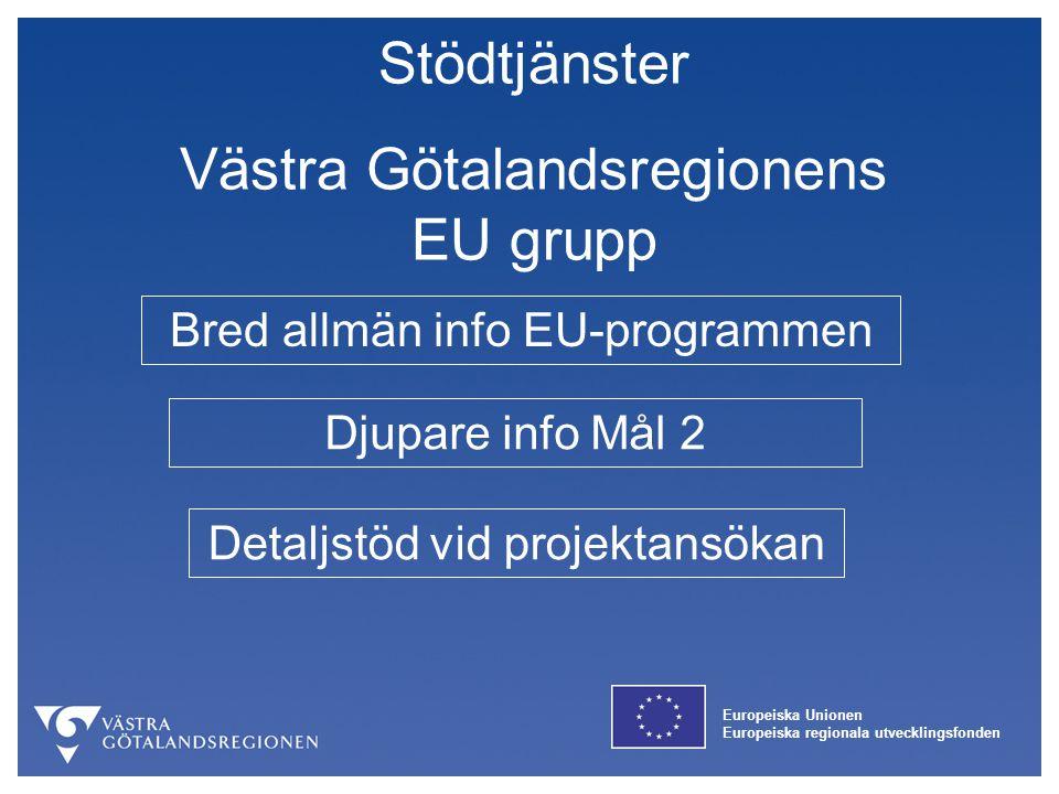 Europeiska Unionen Europeiska regionala utvecklingsfonden Stödtjänster Västra Götalandsregionens EU grupp Bred allmän info EU-programmen Djupare info