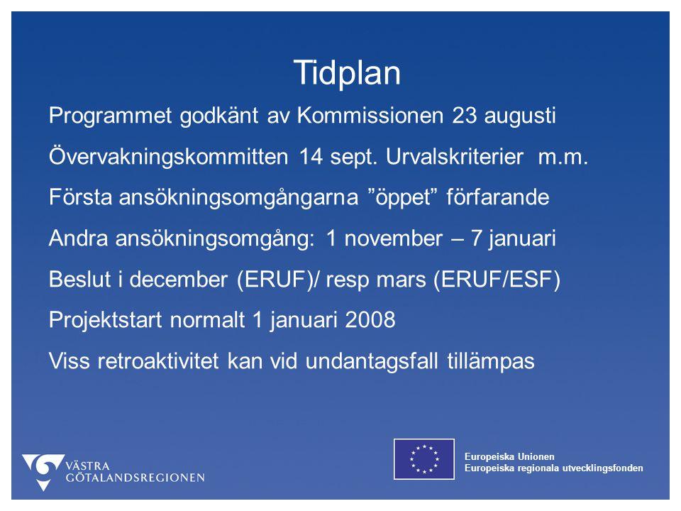 Europeiska Unionen Europeiska regionala utvecklingsfonden Tidplan Programmet godkänt av Kommissionen 23 augusti Övervakningskommitten 14 sept. Urvalsk