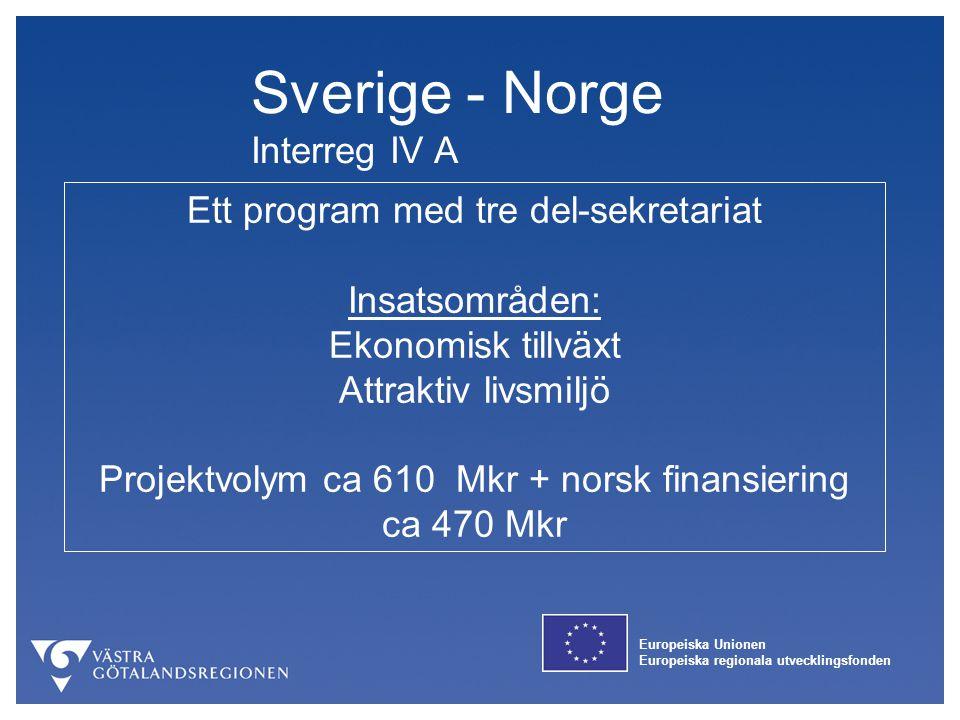 Europeiska Unionen Europeiska regionala utvecklingsfonden Sverige - Norge Interreg IV A Ett program med tre del-sekretariat Insatsområden: Ekonomisk t