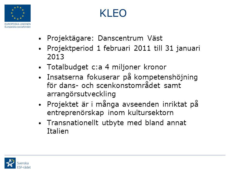 KLEO Projektägare: Danscentrum Väst Projektperiod 1 februari 2011 till 31 januari 2013 Totalbudget c:a 4 miljoner kronor Insatserna fokuserar på kompetenshöjning för dans- och scenkonstområdet samt arrangörsutveckling Projektet är i många avseenden inriktat på entreprenörskap inom kultursektorn Transnationellt utbyte med bland annat Italien