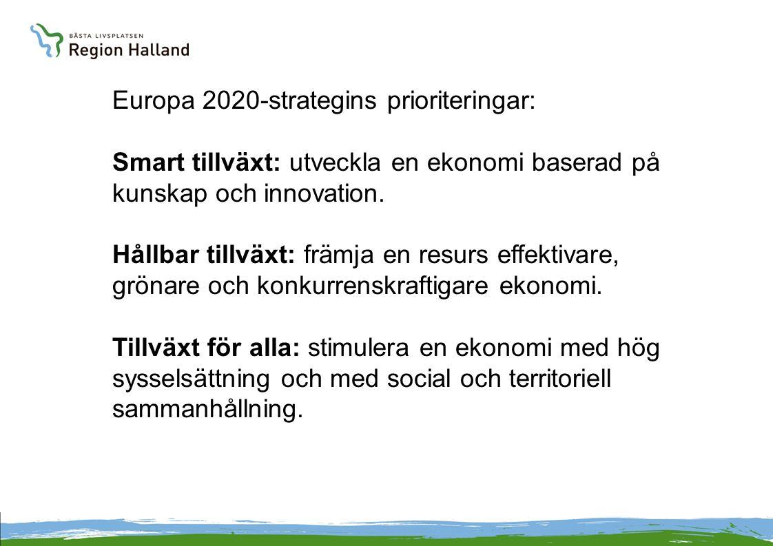Europa 2020-strategins prioriteringar: Smart tillväxt: utveckla en ekonomi baserad på kunskap och innovation. Hållbar tillväxt: främja en resurs effek