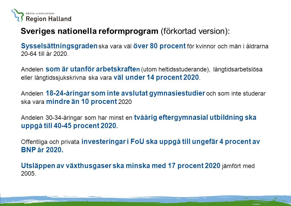 Sveriges nationella reformprogram (förkortad version): Sysselsättningsgraden ska vara väl över 80 procent för kvinnor och män i åldrarna 20-64 till år 2020.