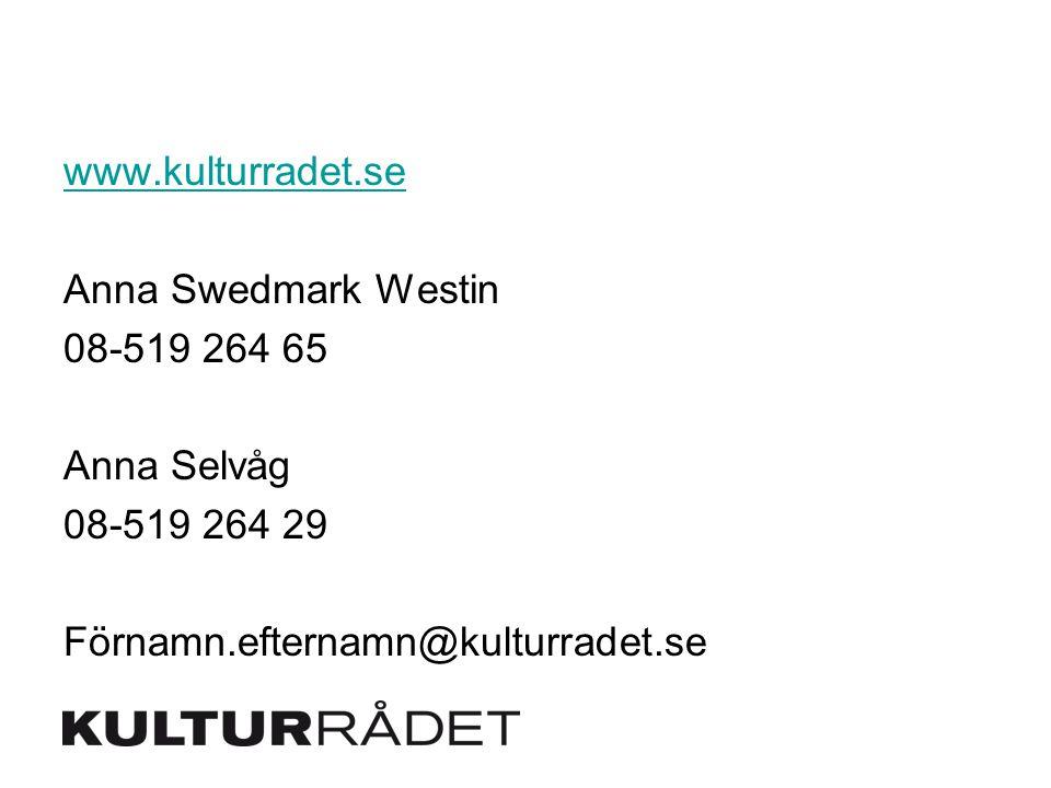 www.kulturradet.se Anna Swedmark Westin 08-519 264 65 Anna Selvåg 08-519 264 29 Förnamn.efternamn@kulturradet.se