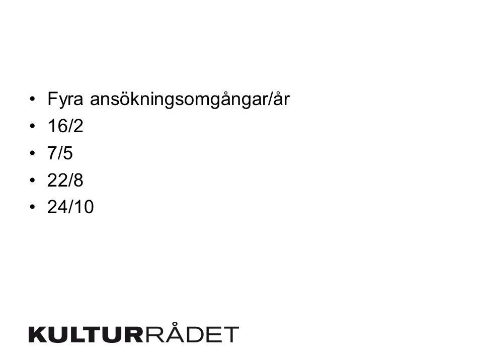 Fyra ansökningsomgångar/år 16/2 7/5 22/8 24/10