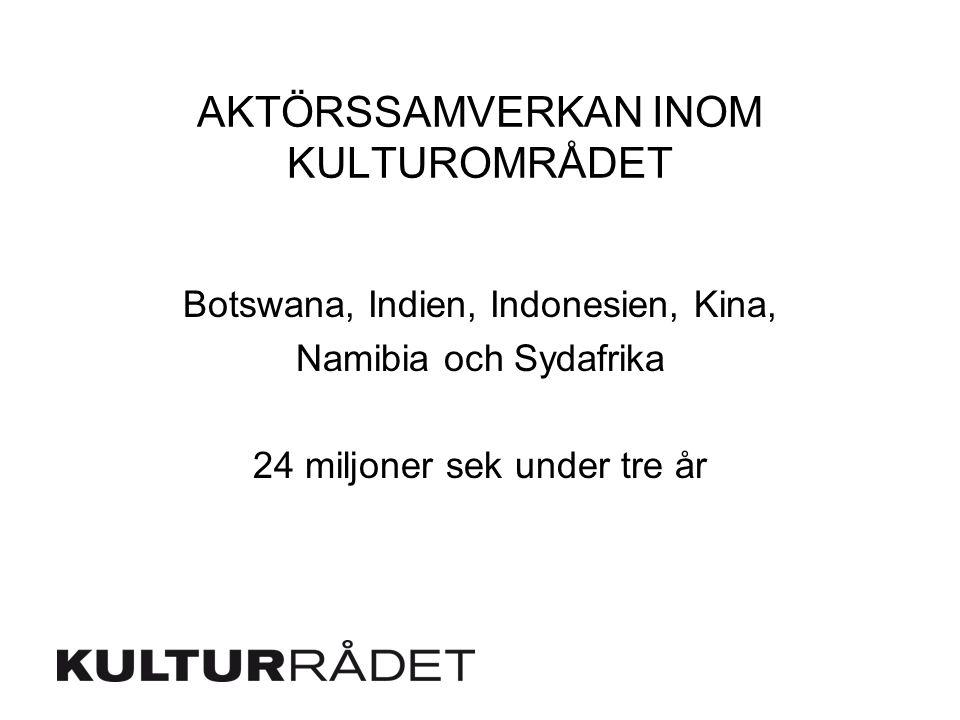 AKTÖRSSAMVERKAN INOM KULTUROMRÅDET Botswana, Indien, Indonesien, Kina, Namibia och Sydafrika 24 miljoner sek under tre år