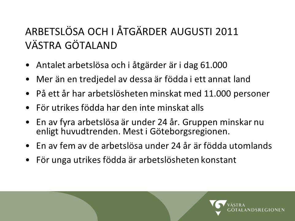 Lidköping 090819 11 ARBETSLÖSA OCH I ÅTGÄRDER AUGUSTI 2011 VÄSTRA GÖTALAND Antalet arbetslösa och i åtgärder är i dag 61.000 Mer än en tredjedel av de