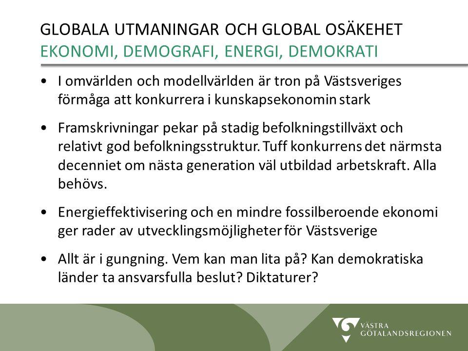 Lidköping 090819 13 GLOBALA UTMANINGAR OCH GLOBAL OSÄKEHET EKONOMI, DEMOGRAFI, ENERGI, DEMOKRATI I omvärlden och modellvärlden är tron på Västsveriges