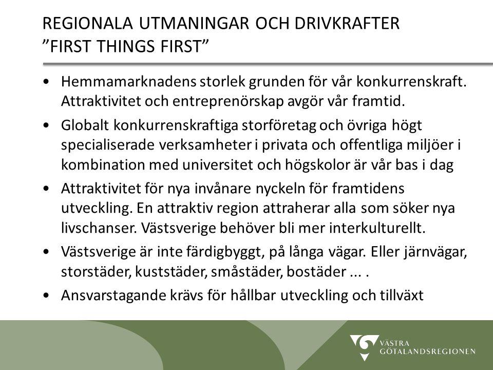 """Lidköping 090819 18 REGIONALA UTMANINGAR OCH DRIVKRAFTER """"FIRST THINGS FIRST"""" Hemmamarknadens storlek grunden för vår konkurrenskraft. Attraktivitet o"""