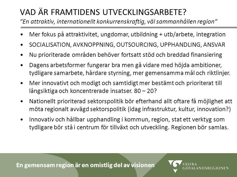 """Lidköping 090819 25 VAD ÄR FRAMTIDENS UTVECKLINGSARBETE? """"En attraktiv, internationellt konkurrenskraftig, väl sammanhållen region"""" Mer fokus på attra"""