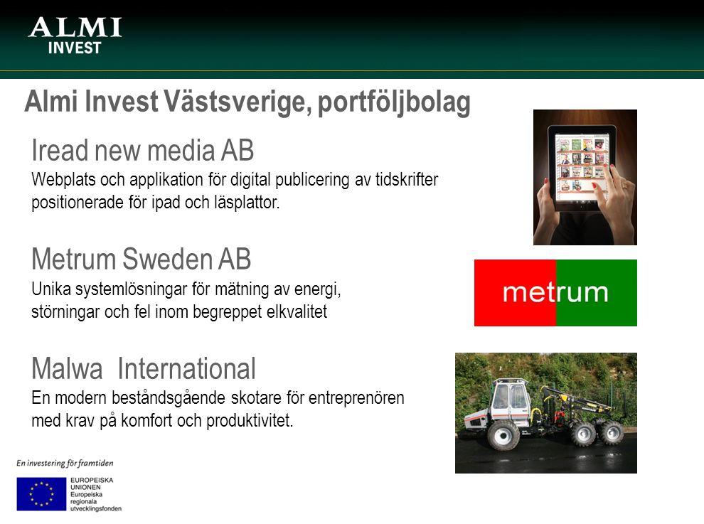 Almi Invest Västsverige, portföljbolag Iread new media AB Webplats och applikation för digital publicering av tidskrifter positionerade för ipad och l