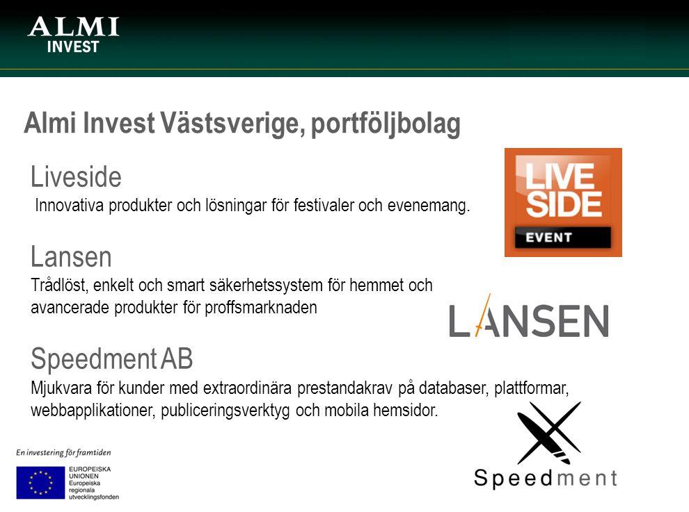 Almi Invest Västsverige, portföljbolag Liveside Innovativa produkter och lösningar för festivaler och evenemang. Lansen Trådlöst, enkelt och smart säk