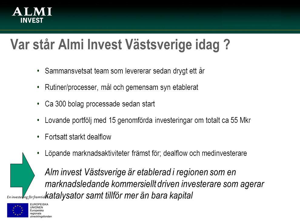 Var står Almi Invest Västsverige idag ? Sammansvetsat team som levererar sedan drygt ett år Rutiner/processer, mål och gemensam syn etablerat Ca 300 b