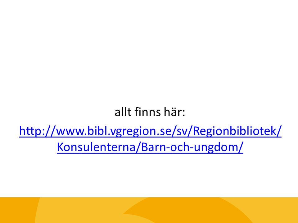 allt finns här: http://www.bibl.vgregion.se/sv/Regionbibliotek/ Konsulenterna/Barn-och-ungdom/