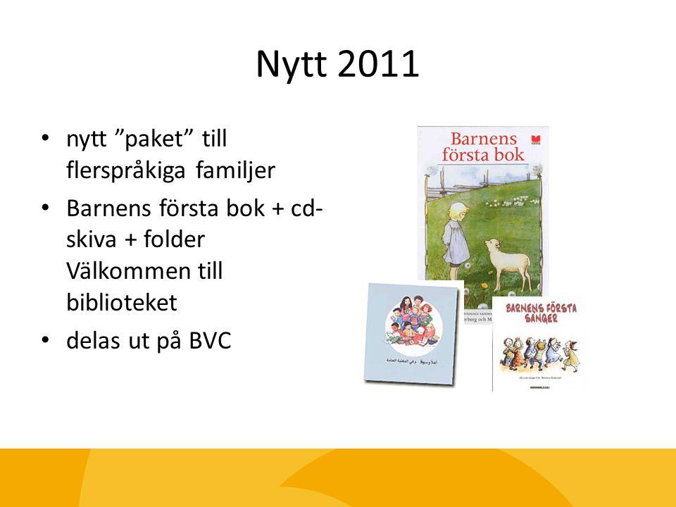 """Nytt 2011 nytt """"paket"""" till flerspråkiga familjer Barnens första bok + cd- skiva + folder Välkommen till biblioteket delas ut på BVC"""