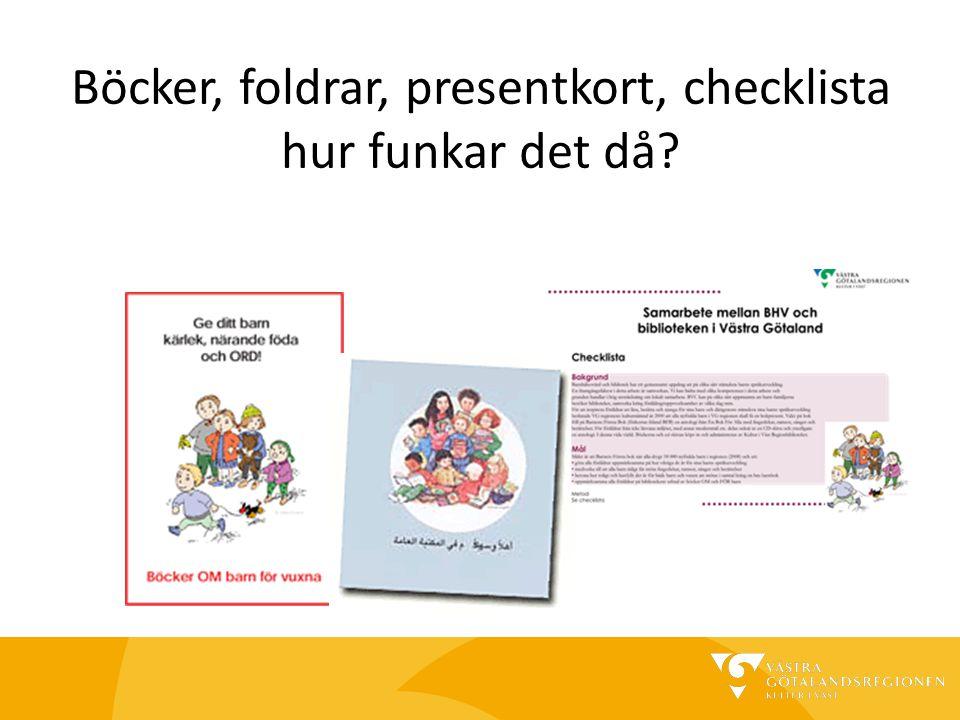 Böcker, foldrar, presentkort, checklista hur funkar det då?