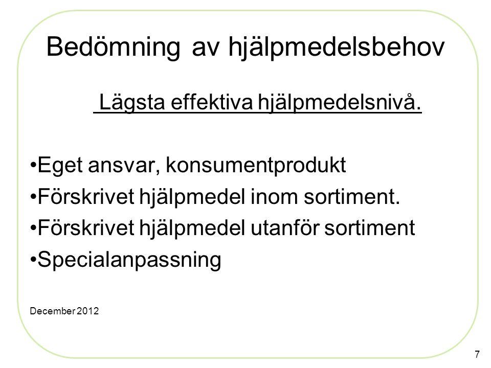 Bedömning av hjälpmedelsbehov Lägsta effektiva hjälpmedelsnivå. Eget ansvar, konsumentprodukt Förskrivet hjälpmedel inom sortiment. Förskrivet hjälpme