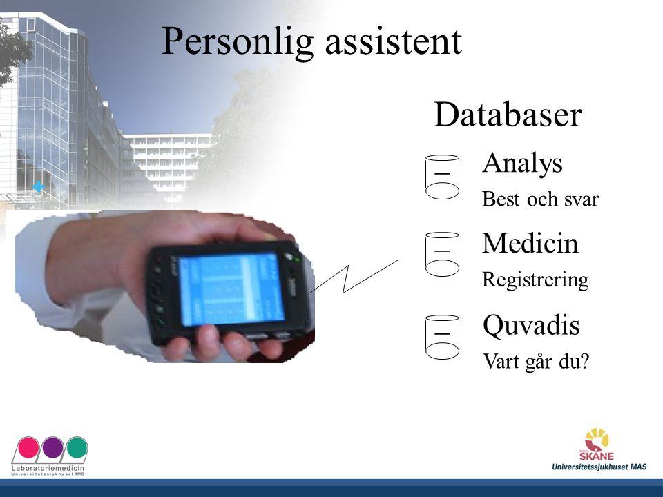UNIVERSITETSSJUKHUSET MAS Analys Best och svar _ Databaser _ _ Medicin Registrering Quvadis Vart går du? Personlig assistent
