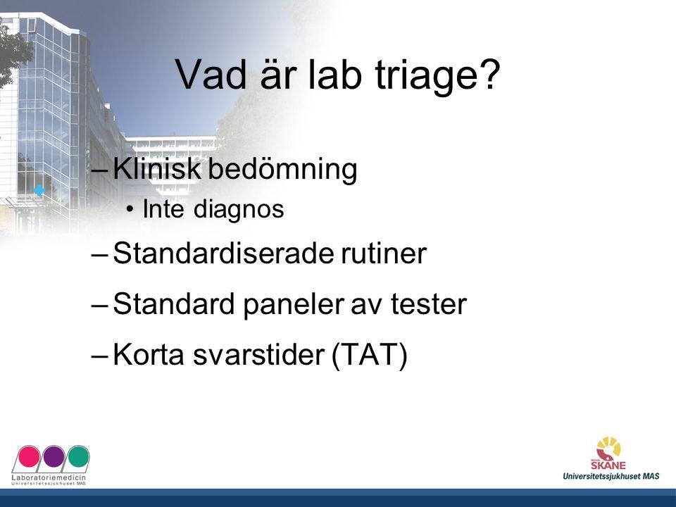 Vad är lab triage? –Klinisk bedömning Inte diagnos –Standardiserade rutiner –Standard paneler av tester –Korta svarstider (TAT)