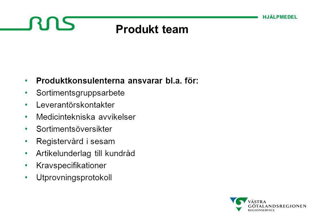 HJÄLPMEDEL Produkt team Produktkonsulenterna ansvarar bl.a. för: Sortimentsgruppsarbete Leverantörskontakter Medicintekniska avvikelser Sortimentsöver