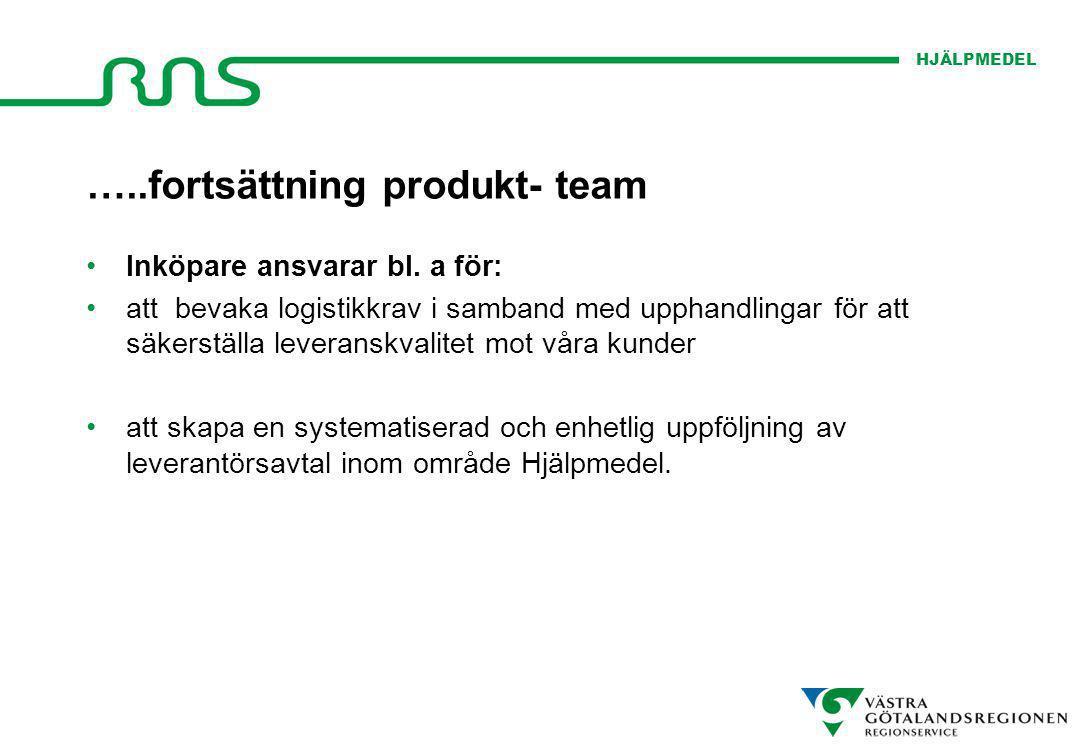 HJÄLPMEDEL …..fortsättning produkt- team Inköpare ansvarar bl. a för: att bevaka logistikkrav i samband med upphandlingar för att säkerställa leverans