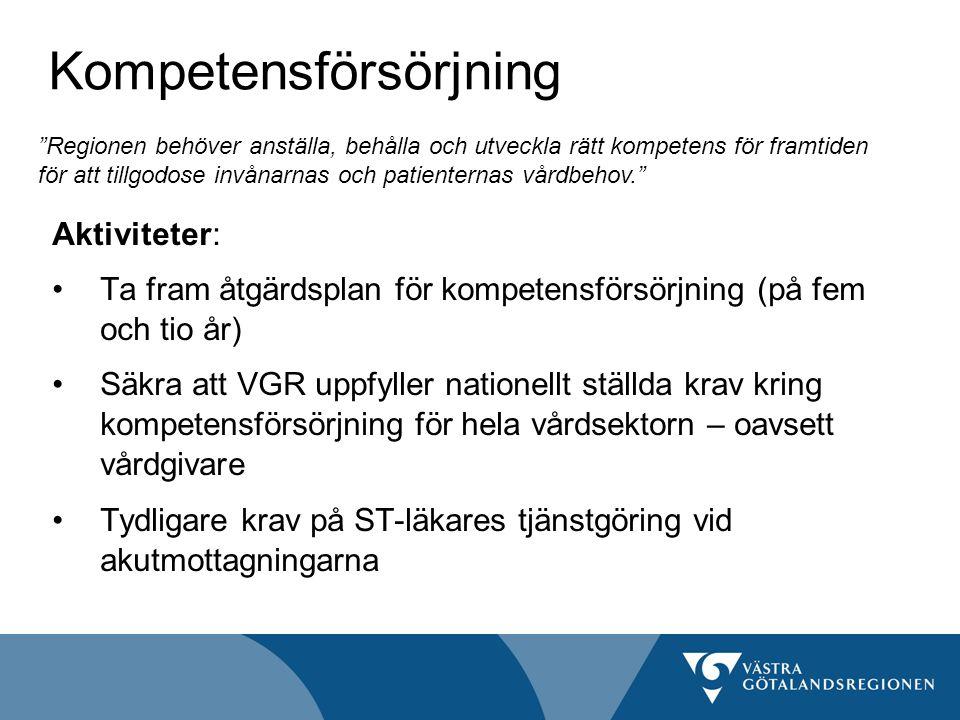 Kompetensförsörjning Aktiviteter: Ta fram åtgärdsplan för kompetensförsörjning (på fem och tio år) Säkra att VGR uppfyller nationellt ställda krav kring kompetensförsörjning för hela vårdsektorn – oavsett vårdgivare Tydligare krav på ST-läkares tjänstgöring vid akutmottagningarna Regionen behöver anställa, behålla och utveckla rätt kompetens för framtiden för att tillgodose invånarnas och patienternas vårdbehov.