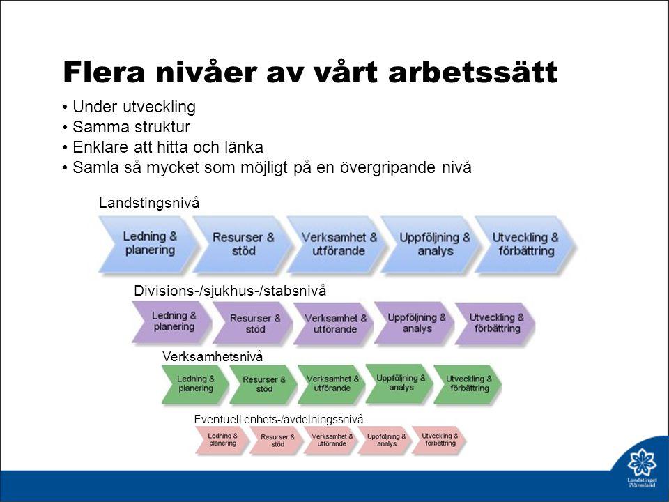 Landstingsnivå Verksamhetsnivå Eventuell enhets-/avdelningssnivå Divisions-/sjukhus-/stabsnivå Flera nivåer av vårt arbetssätt Under utveckling Samma struktur Enklare att hitta och länka Samla så mycket som möjligt på en övergripande nivå